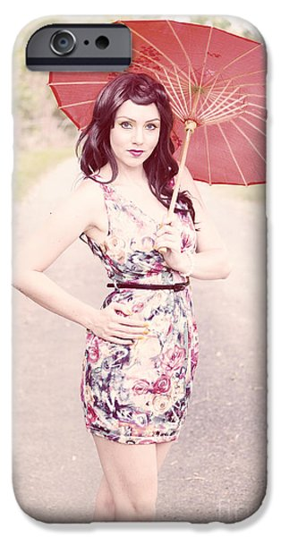 Akimbo iPhone Cases - Lady With Red Parasol iPhone Case by Ryan Jorgensen