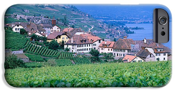 Pastoral Vineyard iPhone Cases - Lake Of Geneva, Vineyards, Rivaz iPhone Case by Panoramic Images