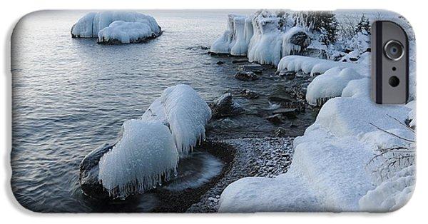 Sandra Updyke iPhone Cases - Lake Superior Blues iPhone Case by Sandra Updyke