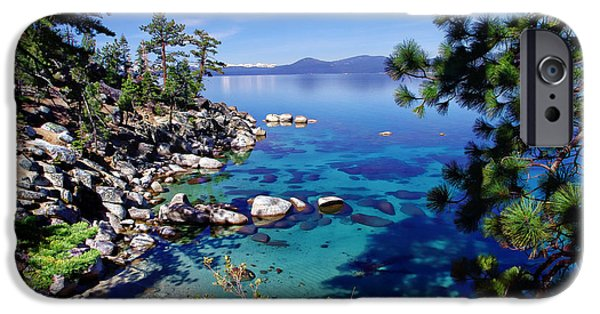 Snow-covered Landscape Photographs iPhone Cases - Lake Tahoe Swimming Hole iPhone Case by Scott McGuire
