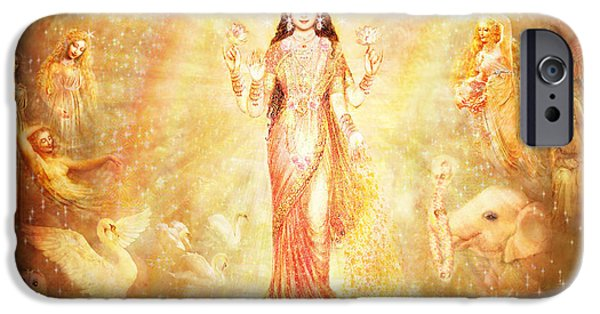 Recently Sold -  - Hindu Goddess iPhone Cases - Lakshmi with Angels and Muses iPhone Case by Ananda Vdovic