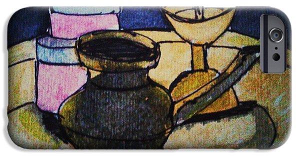 Water Jars Paintings iPhone Cases - Lamp iPhone Case by Vineeth Menon