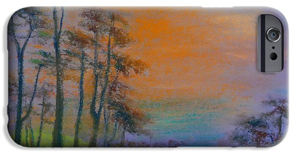 Ocean Sunset Pastels iPhone Cases - Lands End iPhone Case by Pusita Gibbs