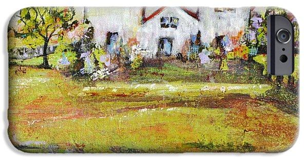 Farm Building iPhone Cases - Landscape Art Scenic Fields iPhone Case by Blenda Studio