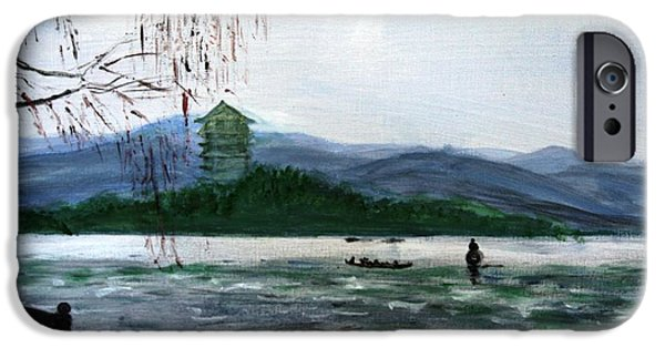 Willow Lake Mixed Media iPhone Cases - Landscape Pop arts iPhone Case by J j Jin