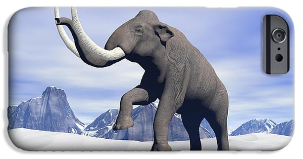 Winter Storm iPhone Cases - Large Mammoth Walking Slowly iPhone Case by Elena Duvernay