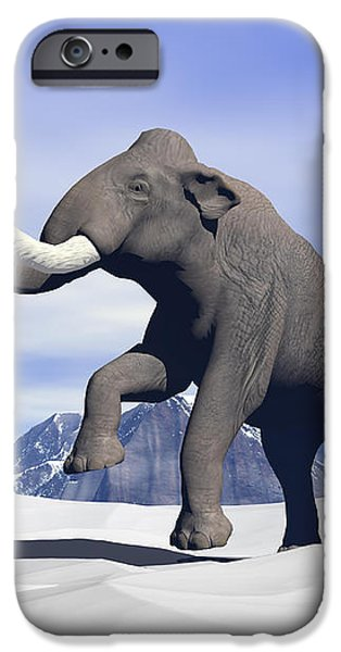 Large Mammoth Walking Slowly iPhone Case by Elena Duvernay