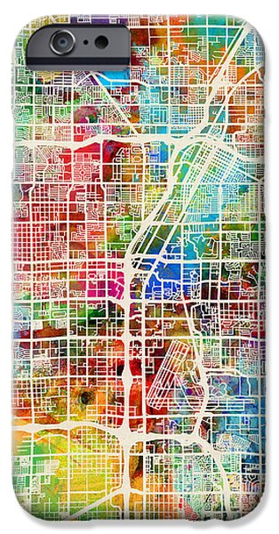 United States iPhone Cases - Las Vegas City Street Map iPhone Case by Michael Tompsett