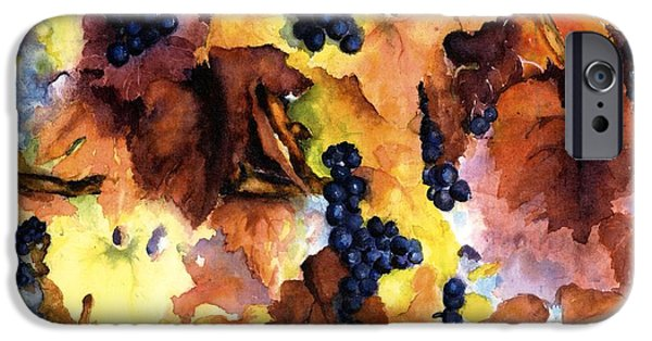 Vineyard In Napa iPhone Cases - Late Harvest 3 iPhone Case by Maria Hunt
