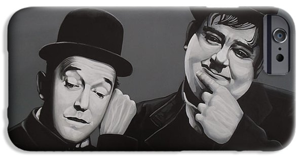 Paul Meijering iPhone Cases - Laurel and Hardy iPhone Case by Paul  Meijering