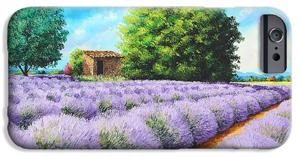 Field. Cloud Paintings iPhone Cases - Lavender Lines iPhone Case by Jean-Marc Janiaczyk
