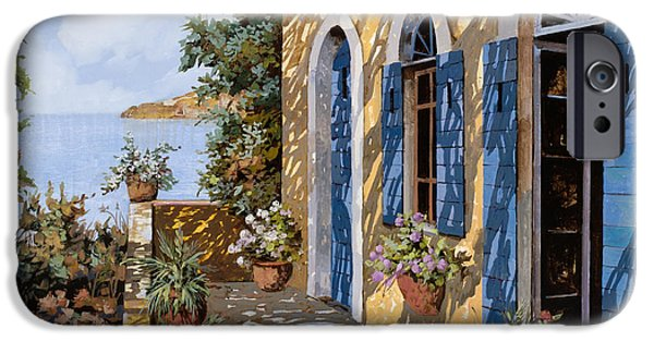 Terraces iPhone Cases - Le Porte Blu iPhone Case by Guido Borelli