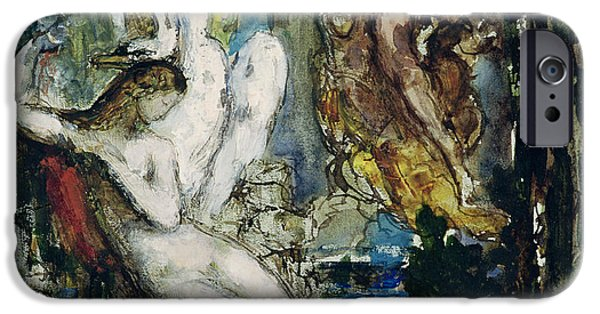 Zeus iPhone Cases - Leda Wc On Paper iPhone Case by Gustave Moreau