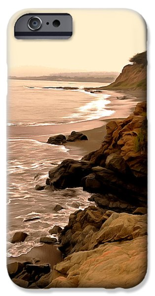 Coast Highway One iPhone Cases - Leffingwell Landing Cambria Digital Painting iPhone Case by Barbara Snyder