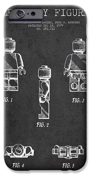 Lego Digital iPhone Cases - Lego Toy Figure Patent - Dark iPhone Case by Aged Pixel