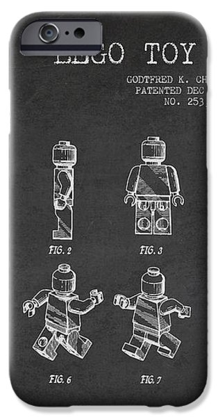 Lego toy Figure Patent Drawing iPhone Case by Aged Pixel