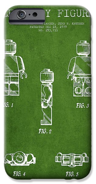 Lego Digital iPhone Cases - Lego Toy Figure Patent - Green iPhone Case by Aged Pixel