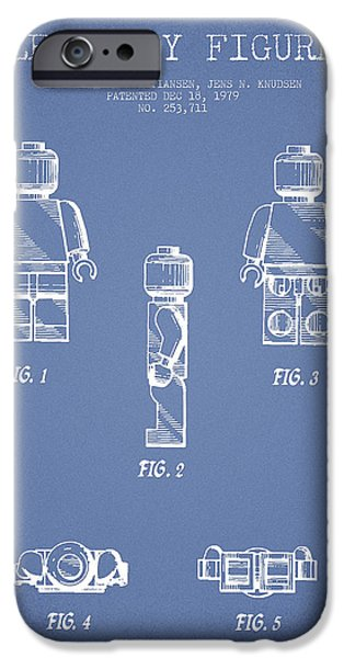 Lego Digital iPhone Cases - Lego Toy Figure Patent - Light Blue iPhone Case by Aged Pixel