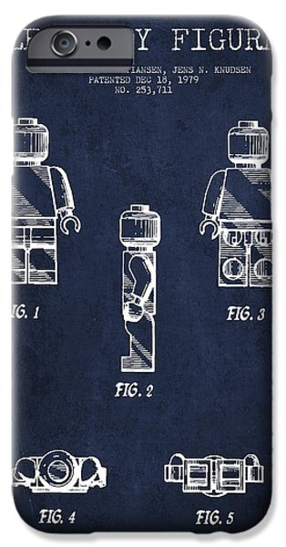 Lego iPhone Cases - Lego Toy Figure Patent - Navy Blue iPhone Case by Aged Pixel