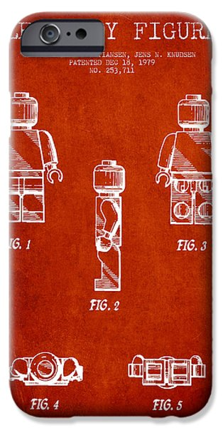 Lego Digital Art iPhone Cases - Lego Toy Figure Patent - Red iPhone Case by Aged Pixel