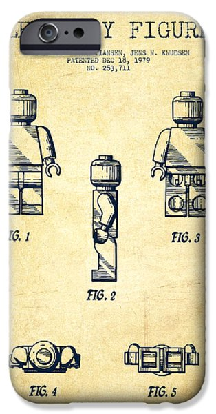 Lego Digital iPhone Cases - Lego Toy Figure Patent - Vintage iPhone Case by Aged Pixel