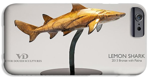 Sharks Sculptures iPhone Cases - Lemon Shark iPhone Case by Victor Douieb
