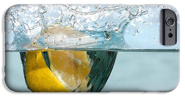 Lemon Drops iPhone Cases - Lemon splash into water iPhone Case by Michal Bednarek