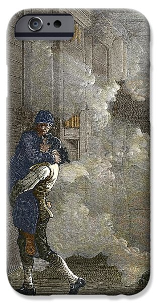 White House iPhone Cases - Leonhard Eulers Rescue From A Fire, 1771 iPhone Case by Sheila Terry