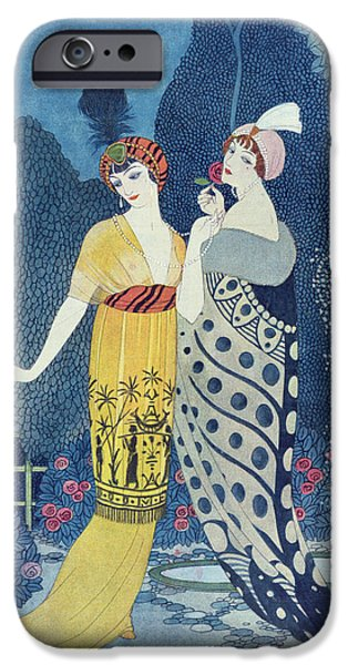Color Drawings iPhone Cases - Les Modes iPhone Case by Georges Barbier
