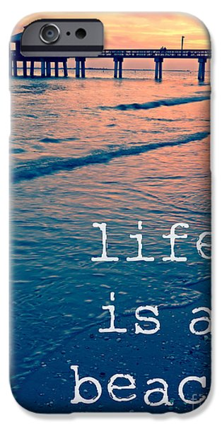 Sunset iPhone Cases - Life is a beach iPhone Case by Edward Fielding
