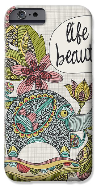 Elephants iPhone Cases - Life Is Beautiful iPhone Case by Valentina