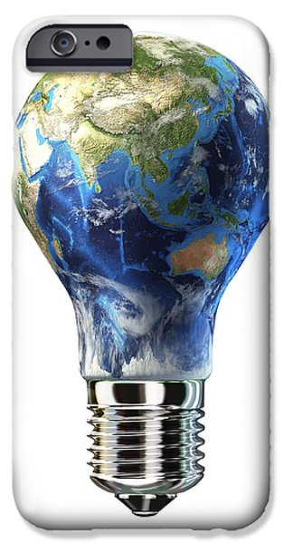 Electrical Equipment iPhone Cases - Light Bulb With Planet Earth iPhone Case by Leonello Calvetti