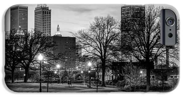 Skylines Photographs iPhone Cases - Lighted Walkway to the Tulsa Oklahoma Skyline iPhone Case by Gregory Ballos