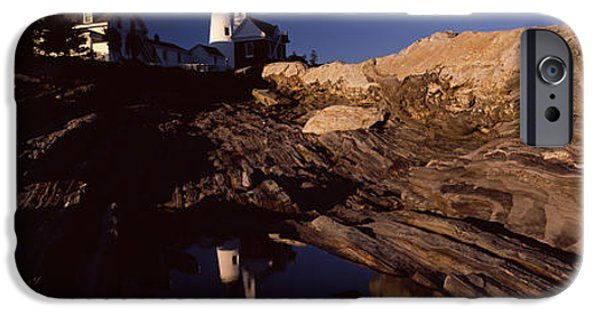 New England Lighthouse iPhone Cases - Lighthouse On The Coast, Pemaquid Point iPhone Case by Panoramic Images