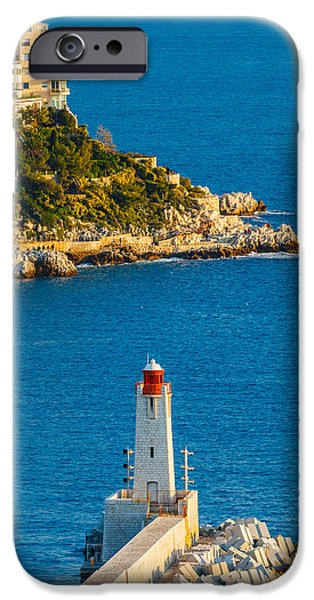 Bay Photographs iPhone Cases - Lighthouse on the Riviera iPhone Case by Sarit Sotangkur