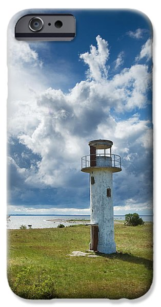Lighthouse Pyrography iPhone Cases - Lighthouse with beautiful sky iPhone Case by Anna Grigorjeva