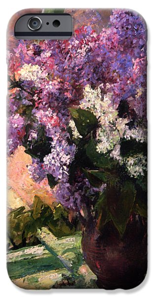 Interior Still Life iPhone Cases - Lilacs in a Window iPhone Case by Mary Cassatt