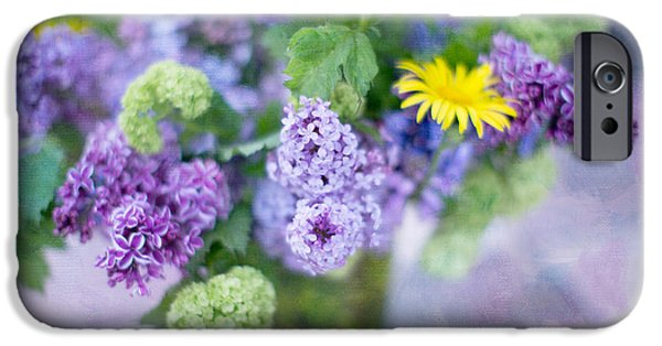 Lilacs iPhone Cases - Lilacs in Vase 3 iPhone Case by Rebecca Cozart