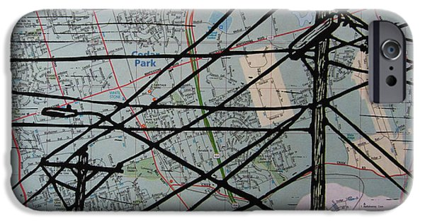 Lino Drawings iPhone Cases - Lines on Map iPhone Case by William Cauthern