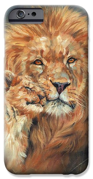 Young Paintings iPhone Cases - Lion Love iPhone Case by David Stribbling