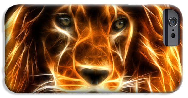 The Tiger Digital Art iPhone Cases - Lion  iPhone Case by Mark Ashkenazi