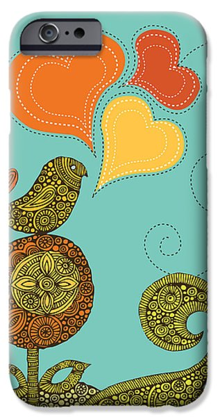 Floral Digital Art Digital Art iPhone Cases - Little Bird In The Flower iPhone Case by Valentina Ramos