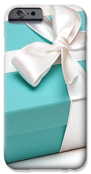 Little Blue Gift Box iPhone Case by Amy Cicconi