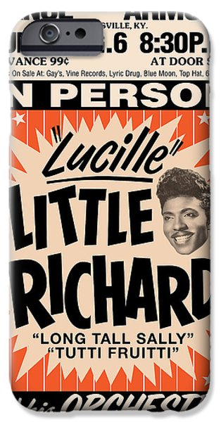 Decorative Digital Art iPhone Cases - Little Richard iPhone Case by Gary Grayson
