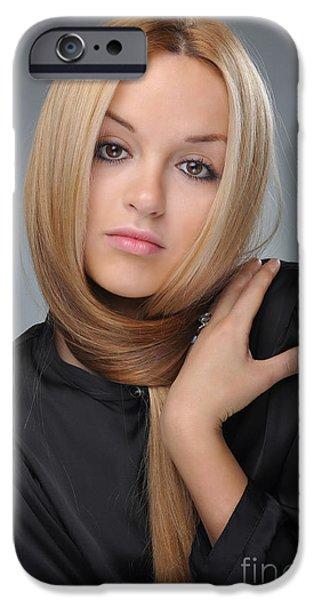 Gray Hair iPhone Cases - Liuda11 iPhone Case by Yhun Suarez