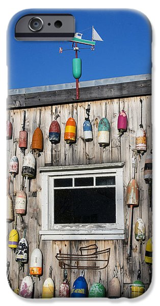 Lobster Shack iPhone Cases - Lobster Shack Buoys iPhone Case by John Greim
