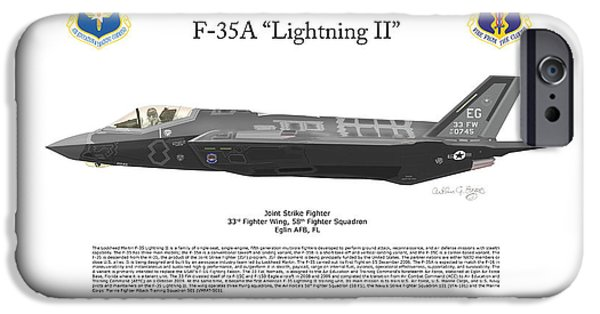 Nineteenth Digital iPhone Cases - Lockheed Martin F-35A Lightning II iPhone Case by Arthur Eggers
