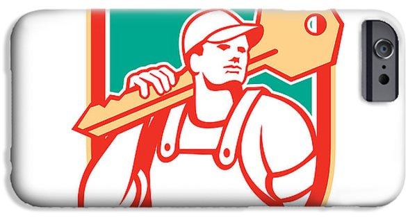 Repairman iPhone Cases - Locksmith Carry Key Shield Retro iPhone Case by Aloysius Patrimonio