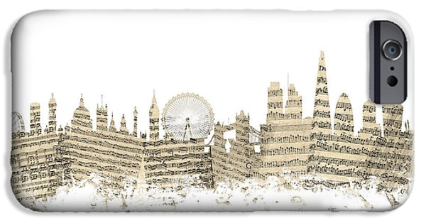 Sheets iPhone Cases - London England Skyline Sheet Music Cityscape iPhone Case by Michael Tompsett