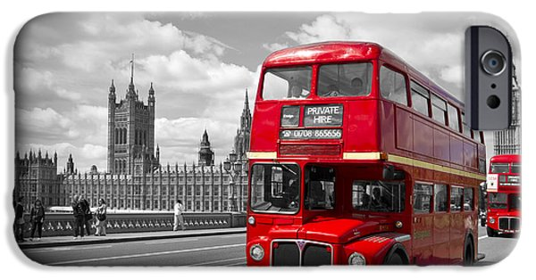 Old Town Digital iPhone Cases - London - Houses of Parliament and Red Buses iPhone Case by Melanie Viola